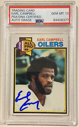 1979 Topps Earl Campbell Signed Rookie Football Card Psa/dna Auto Grade 10 Oiler