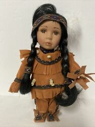 Vintage Native American Indian Beautiful Girl Doll Porcelain Bisque Face Stuffed
