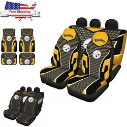Pittsburgh Steelers Full Set Car Seats Cover Foot Pad Mat Auto Cushion Protector