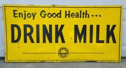 Vintage 1950's Drink Milk Wirthmore Feeds Dairy Cow Farm Metal Sign Agriculture
