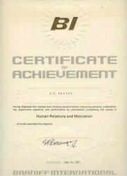Braniff International Certificate Of Achievement 1971 Diploma Airlines