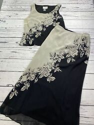 Papell Boutique Evening Black Tan 2 pc Top Skirt Dress Outfit Beaded Silk 10 $31.00
