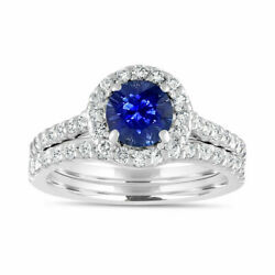 2.1 Ct Diamond Natural Blue Sapphire Gemstone Ring Sets 14kt White Gold Rings