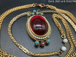 Vintage Art Nouveau Style Ruby Colored Cabochon Faux Pearl Long Necklace 32and039and039