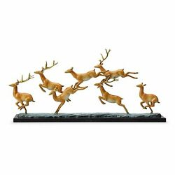 Spi Home Leaping Deer Herd Brass And Marble Statue