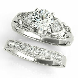 Solid 14k White Gold Band Sets 0.75 Ct Real Diamond Engagement Ring 8.5 7 6