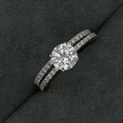1.30 Ct Real Diamond Engagement Ring Solid 14k White Gold Band Sets 8.5 7 6