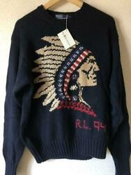 Polo Country 1994 Indian Head Sweater Hand Knit Cotton Navy Size L