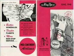 Wing Tips Magazine Mid Continent Airlines June 1948 Braniff