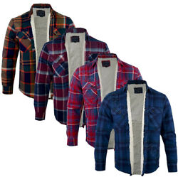 Mens Tokyo Laundry Sherpa Lined Flannel Lumberjack Check Shirt Button Up S-xl