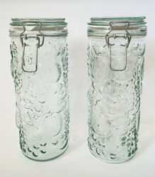 """Vintage Fruit Embossed 10"""" Heavy Glass Canister Wire Bale Jars. Set Of 2"""