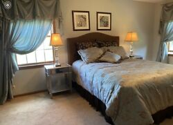 Bedroom Ensemble-queen-headboard And Framebeddingdrapes2 Sets Of Wall Hangings