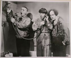 The Three Stooges Larry And Moe Signed Photo W/coa