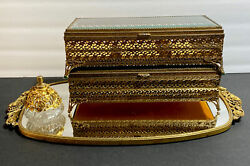 Antique Gold Tone Filigree Jewelry Box W/ Mirror And Empty Bottle Perfume-lots