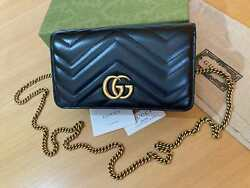 GUCCI Women Mini Bag Beloved Gold GG Chain Black Leather Authentic Made in Italy $599.00