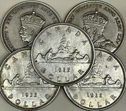 Canada Silver Dollar 1935 - First Year - Ef Or Better Per Coin