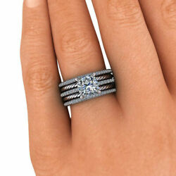 1.40 Ct Real Diamond Engagement Ring Solid 14k White Gold Band Sets 8 6 7.5
