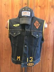 Motorcycle Hells Angels Gang 557 Type Iii Jeans Vest 60and039s Xl W/ Rrl Hat