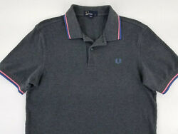 FRED PERRY MEN#x27;S SHORT SLEEVES POLO SHIRT SIZE M DARK GRAY. B42 $34.99