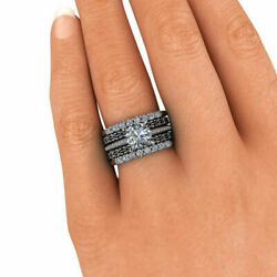 1.40 Ct Real Diamond Engagement Ring Solid 14k White Gold Band Sets 8.5 7 6