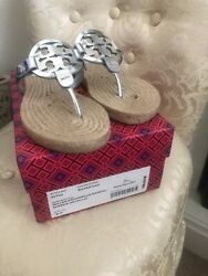 Tory Burch Miller Silver Metallic Leather Espadrille Sandals Size 6.5 $100.00