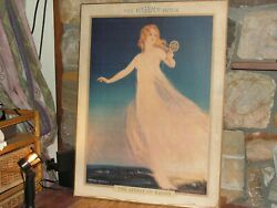 Rare Antique Eveready Hour Litho Radio Store Advertising Poster Board