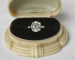 Vintage 3.75ct 14k White Gold Luminous White Sapphire Solitaire Engagement Ring