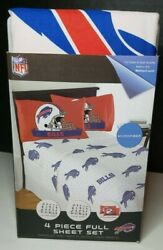 Buffalo Bills Nfl Licensed 4 Pc Bed Full Set Flat And Fitted Sheets Pillow Case