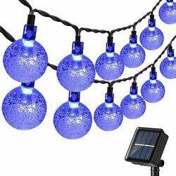 Hanging Solar Lights Outdoor 30 Led 20ft Crystal Globe With 8 Lighting Modes