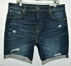 New American Eagle Athletic Airflex Distressed Jean Shorts Mens Size 36 X 7.75