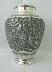 Exquisite Antique Asian/japanese Solid Silver Vase With Markings