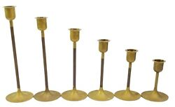 Vintage Mcm Brass Graduated Candlestick Holders Tapered Candle Holders Set Of 6