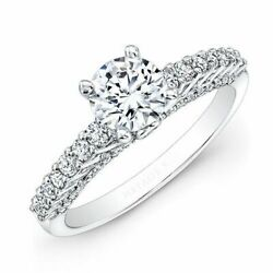 Fine 1.32 Carat Real Round Cut Diamond Engagement Ring 14kt. White Gold Size M O