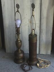 2 Vintage Asian Brass Table Lamps Engraved Signed W/ Matched Finials And Working