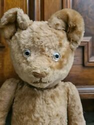 Lovely Old Vintage Antique Teddy Bear Straw-filled European 40cm Fully Jointed