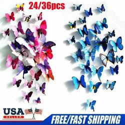 24X 36X 3D Butterfly Wall Stickers PVC Children Room Decal Home Decoration Decor