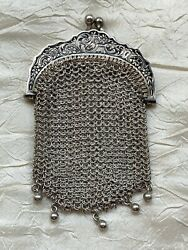 Antique Sterling Silver Chatelaine Coin Purse - By Alexandre Vaguer Signed