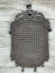 Antique Sterling Silver Chatelaine Coin Purse - Six Tiny Beads Hallmarkssigned