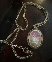 Vintage Signed Coro Gold Tone Cameo Pendant Angels Necklace
