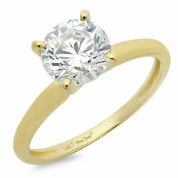 1 Ct Round Cut Genuine Cultured Diamond Stone 18k Yellow Gold Solitaire Ring