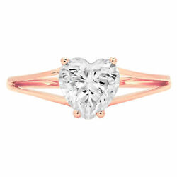 1.0 Ct Heart Cut Genuine Cultured Diamond Stone 18k Rose Gold Solitaire Ring
