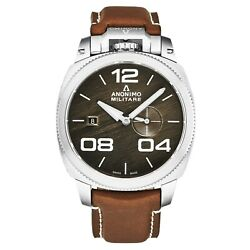 Anonimo Mens Military Bronze Dial Brown Strap Automatic Watch Am-1020.01.002.a02