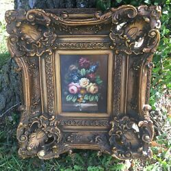 Vintage Gold Ornate Convex Picture Frame Still Floral Painting Signed Martin