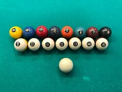 Antique Set Of 16 Billiard Pool Balls 2 Diameter Clay Or Celluloid Collector