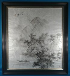 Japanese Original Ink Landscape Painting On Handmade Paper Signed By 山人