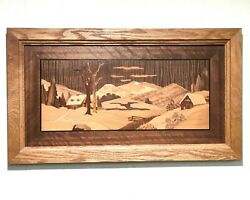 Vtg Picture Wood Inlay Marquetry Landscape Interior Wall Decor Wall Art