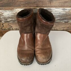 Ugg Mens Beacon Brown Leather Shearling Lined Boots Sz 12