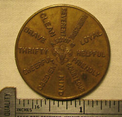 Vintage Bsa Boy Scout Brass Oath And Law Challenge Coin Token Excellent Condition