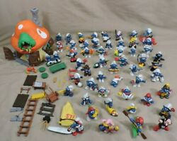 Vintage Smurfs Schleich Peyo Lot Mushroom House Boat 56 Figures So Clean And Nice