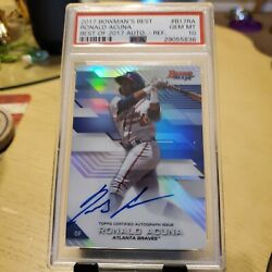 2017 Bowmanand039s Best Refractor Auto Ronald Acuna Psa 10 Atlanta Braves
